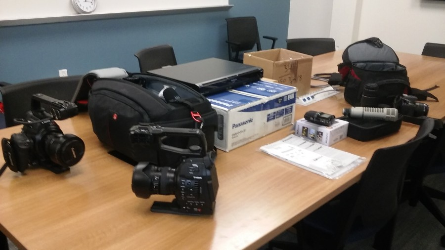 These cameras were recovered by City College from the Palace Pawn Shop near campus. Photo credit: Collette Carroll