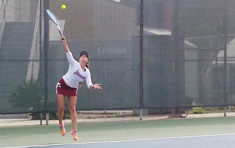 Freshman Palia Griffin, the team's number one singles player, swept the first set 7-0. Photo credit:  Michael Markulin