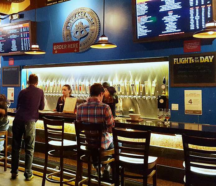 Ballast Point Tasting Room is a classy spot to enjoy house specialties. Photo credit: Bernadette Hilgeman.
