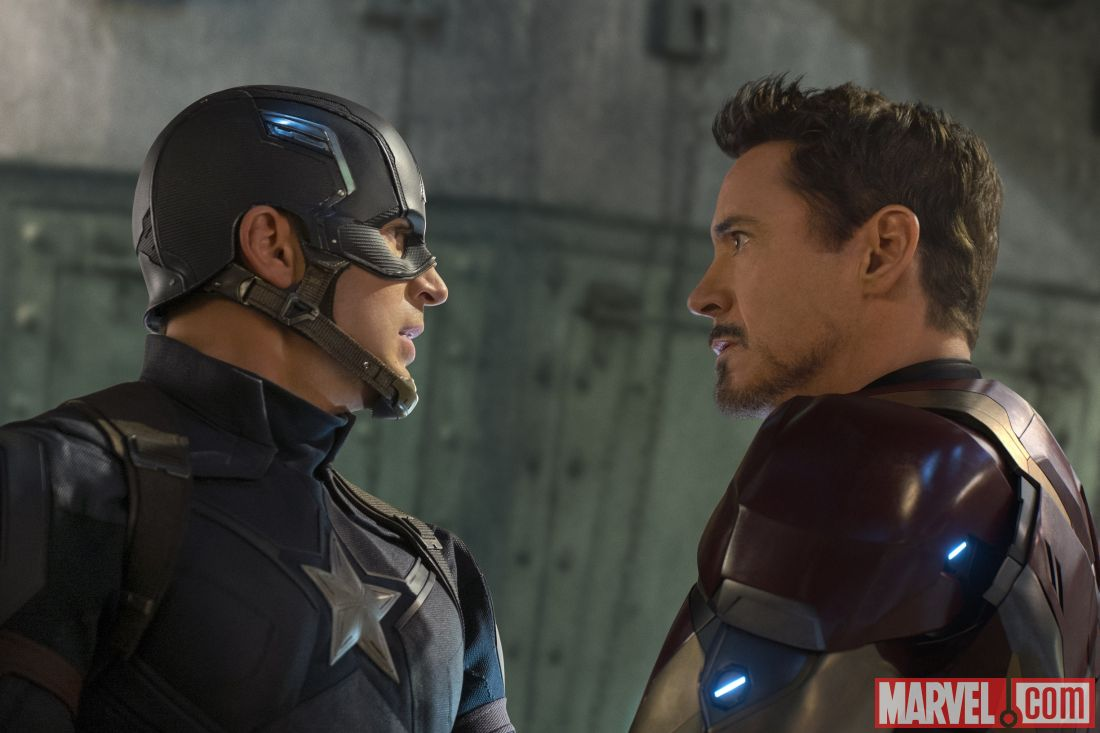 Captain America and Iron Man square off defending their beliefs. The movie is a clash of titans fighting for either freedom or security. Courtesy photo from marvel.com