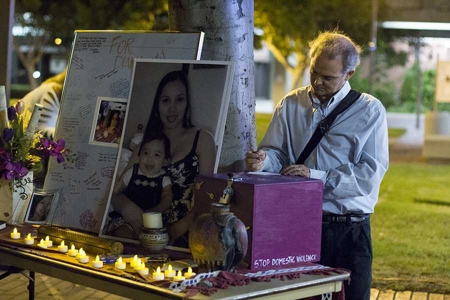 Activists set up a tribute to Diana Gonzalez on campus. Photo by Celia Jimenez
