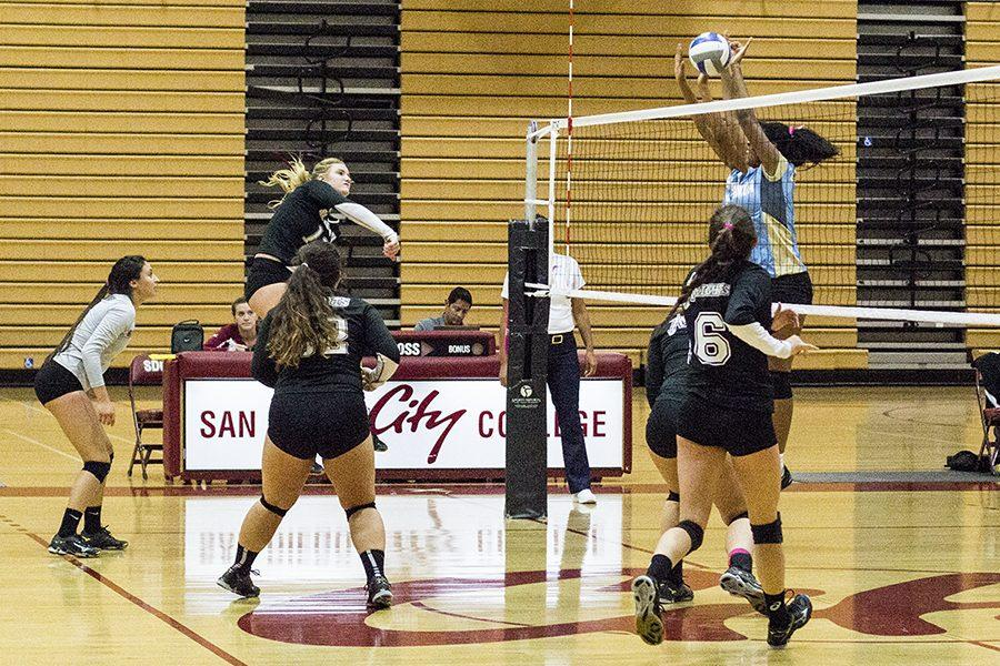 Knight outside hitter Chloe Gruwell spikes the ball against Cuyamaca's defense on Oct. 7 at West Gymnasium.  Photo credit: Celia Jimenez