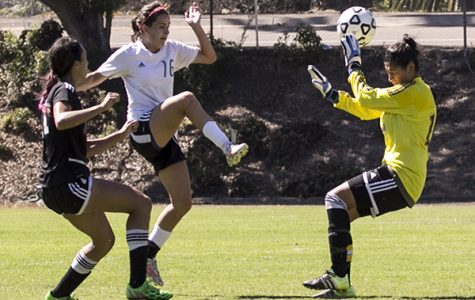 Cuyamaca freshman forward Kayla  Kinney  (No . 16) outflanks Kn ights sophomore midfielder Felicia Valenzuela and goalie Lisa Garcia  and scores  her second goal of the match. Photo credit: Celia Jimenez / City Times