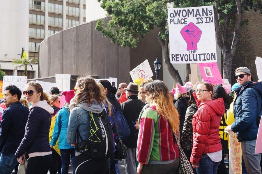 Groups of women, families and individuals turned out for the Women's March in San Diego on Jan. 21 to protest President Trump. Photo by Melissa Gutierrez de Pineres