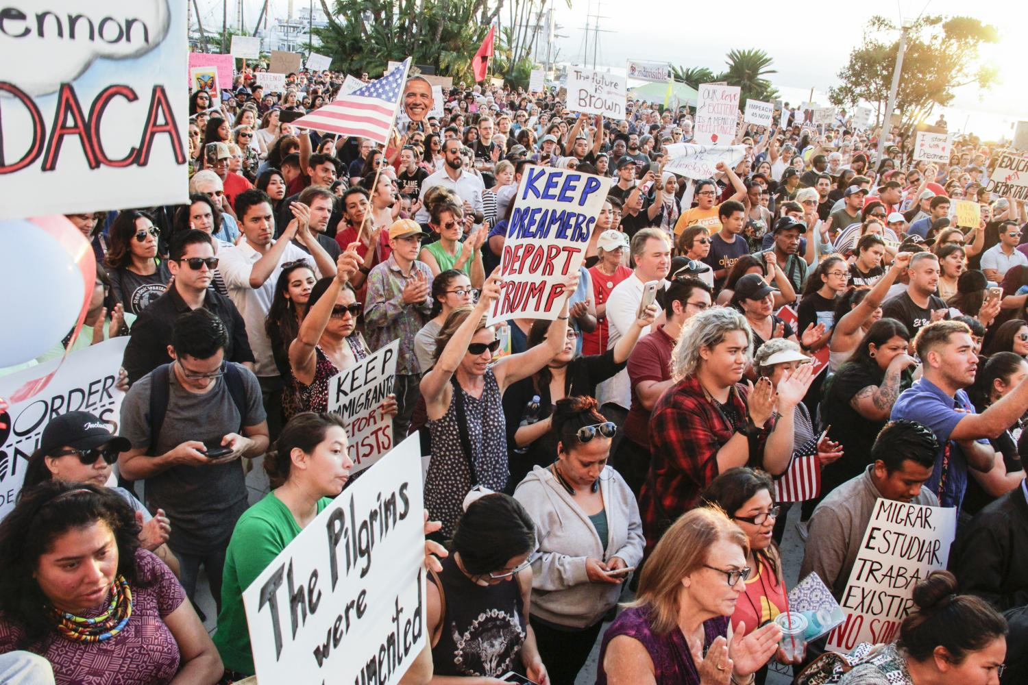 Hundreds rally to protest President Trump's  decision to end DACA at the San Diego County Administration building on Sept. 5.