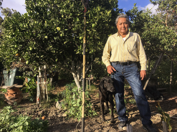 Miguel Cornejo says air contamination affects his garden, which he's tended since the 1980's, San Ysidro, Oct. 3, 2017