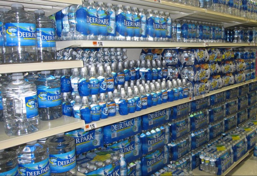 Bottled water in supermarket