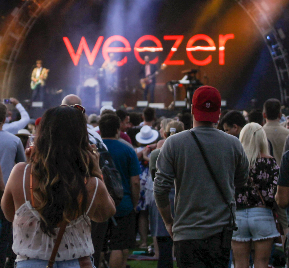 Weezer rocks out on the main stage on Day 1 of the Del Mar KAABOO festival, Friday Sept. 15, 2017