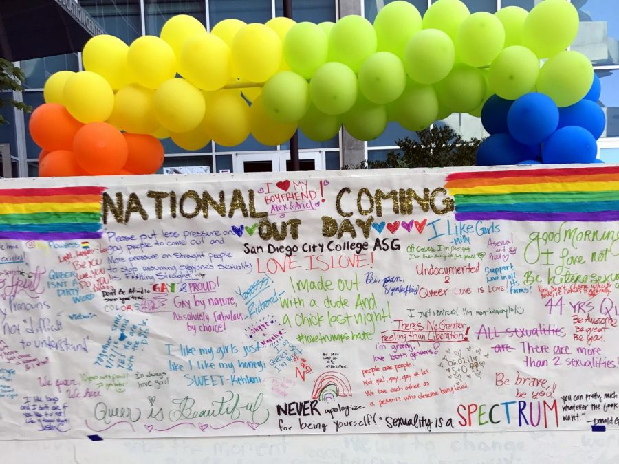Students from the LGBTQ creates a sign promoting coming out through LGBTQ club on campus on Oct. 11, 2017