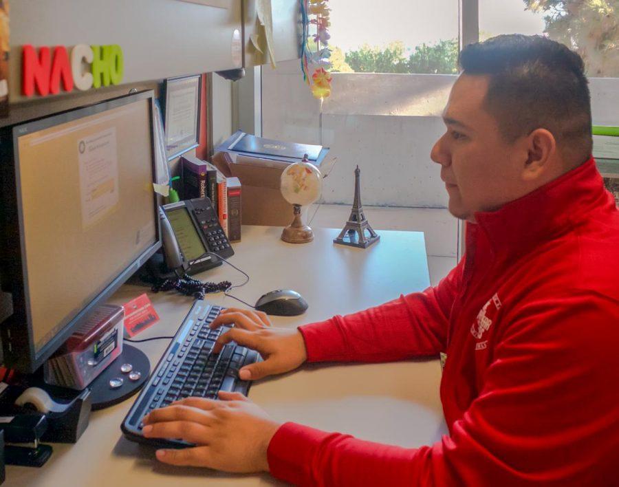 ASG president Ignacio Hernandez V. working in his office, Sept. 20.