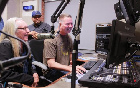 Professor Dave Smith in studio with the RTVF 131 Advanced Radio Production students practicing radio techniques discussed during lecture, San Diego City College, Oct.18, 2017