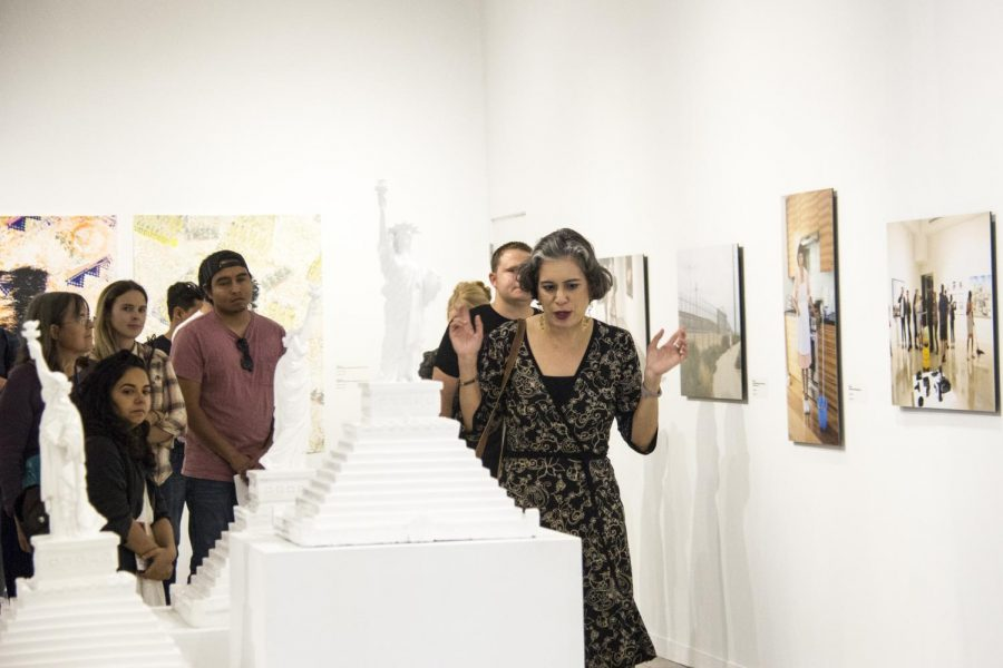 Undocumenta's curator Alessandra Moctezuma gives an exhibition tour at Oceanside Museum of art on Nov. 5.