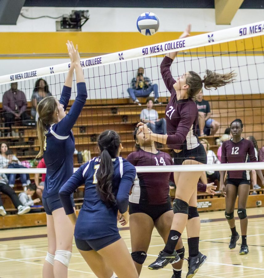 Sophomore+medium+blocker+Julia+Ferraro+gets+ready+to+hit+ball+against+Mesa+Olympians+at+San+Diego+Mesa+College+Gymnasium%2C+Nov.+1