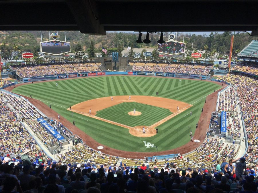 Dodgers fans filling up the Dodger Stadium before the start of a day game, Los Angeles, Aug. 2017.