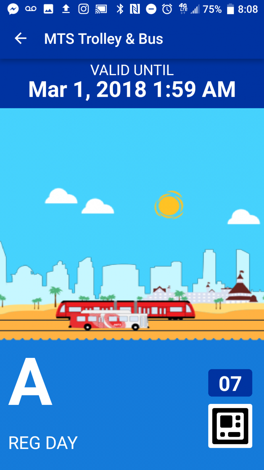 A screenshot of the app shows the animated mobile ticket.
