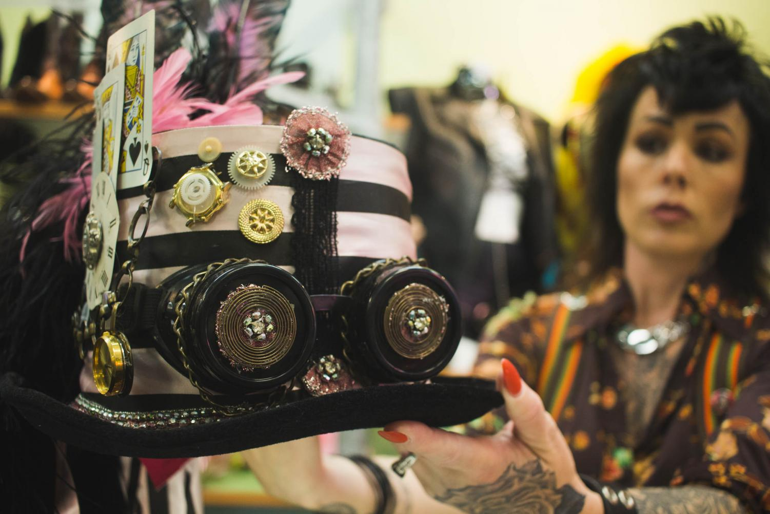 Flashbacks has a whole section of the store dedicated to Steampunk for Halloween this year. Photo by Nadia Mishkin,  City Times.