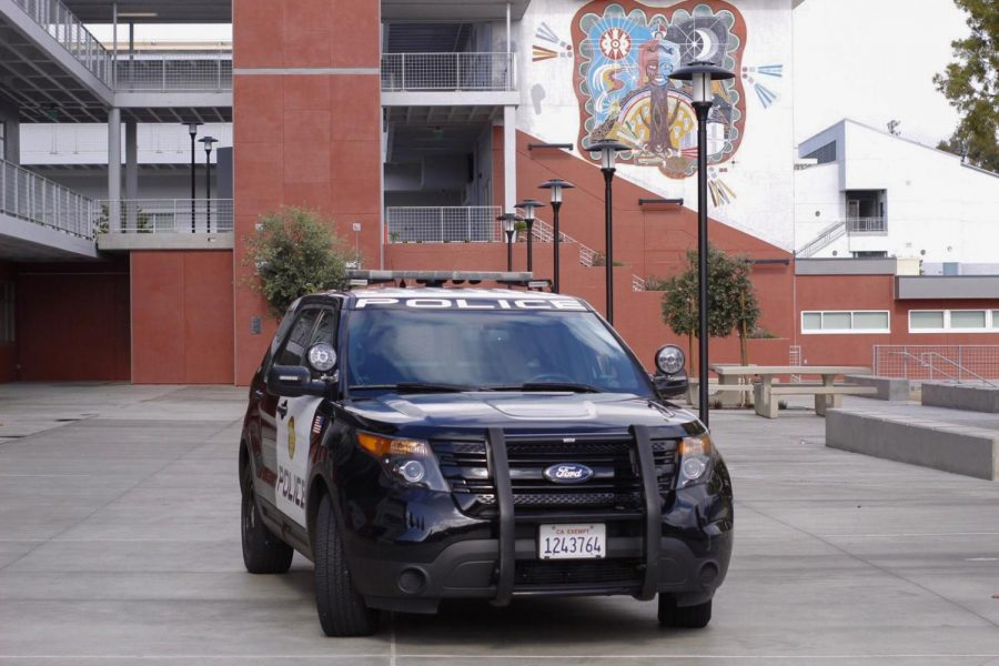 SDCCD police in front of the A building