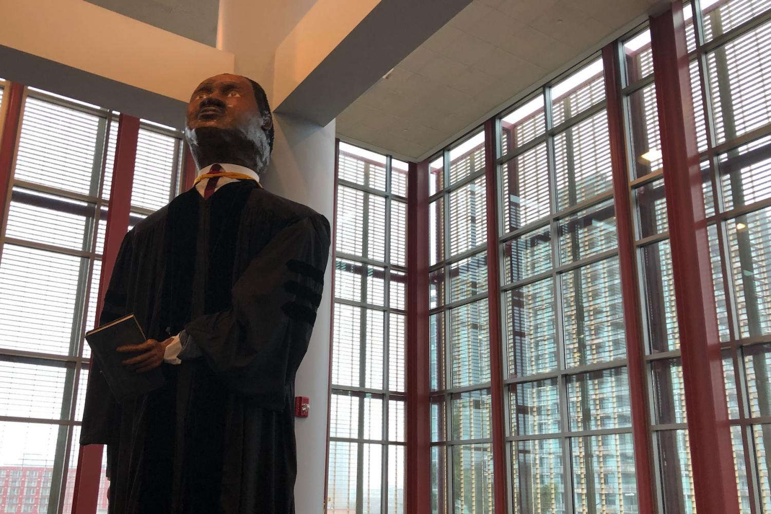 A Martin Luther King Jr. figure is located inside the Learning Resource Center as a commemoration for Black History Month. Art professor Duane Gardella created the likeness for City College's MLK Parade float. It will be on display until April 15. By Elisabeth Vermeulen/City Times