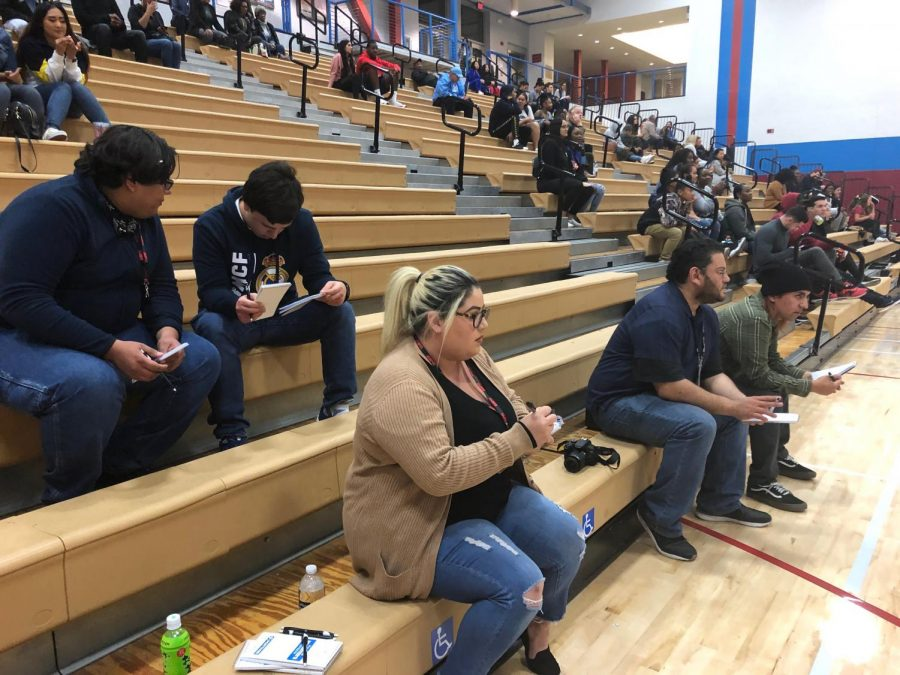 Keeping accurate love game statistics was one of the skills learned by student journalists watching the Knights men's basketball team against Grossmont College at Harry West Gym. By Nicole Vargas/City Times