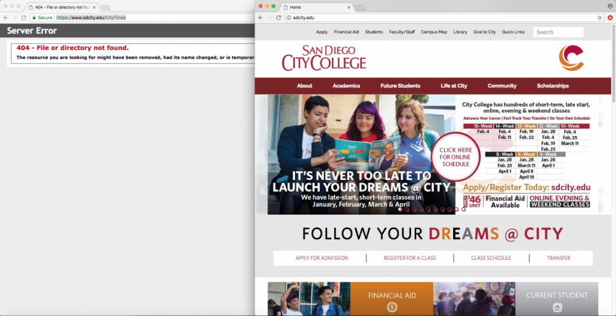 Screen Shot shows new City College website on the right and a broken link that used to hold information about City Times on the left.