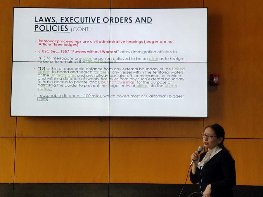 Dulce Garcia speaks at Subir Center