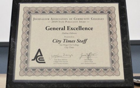 General Excellence award certificate to the City Times staff by JACC