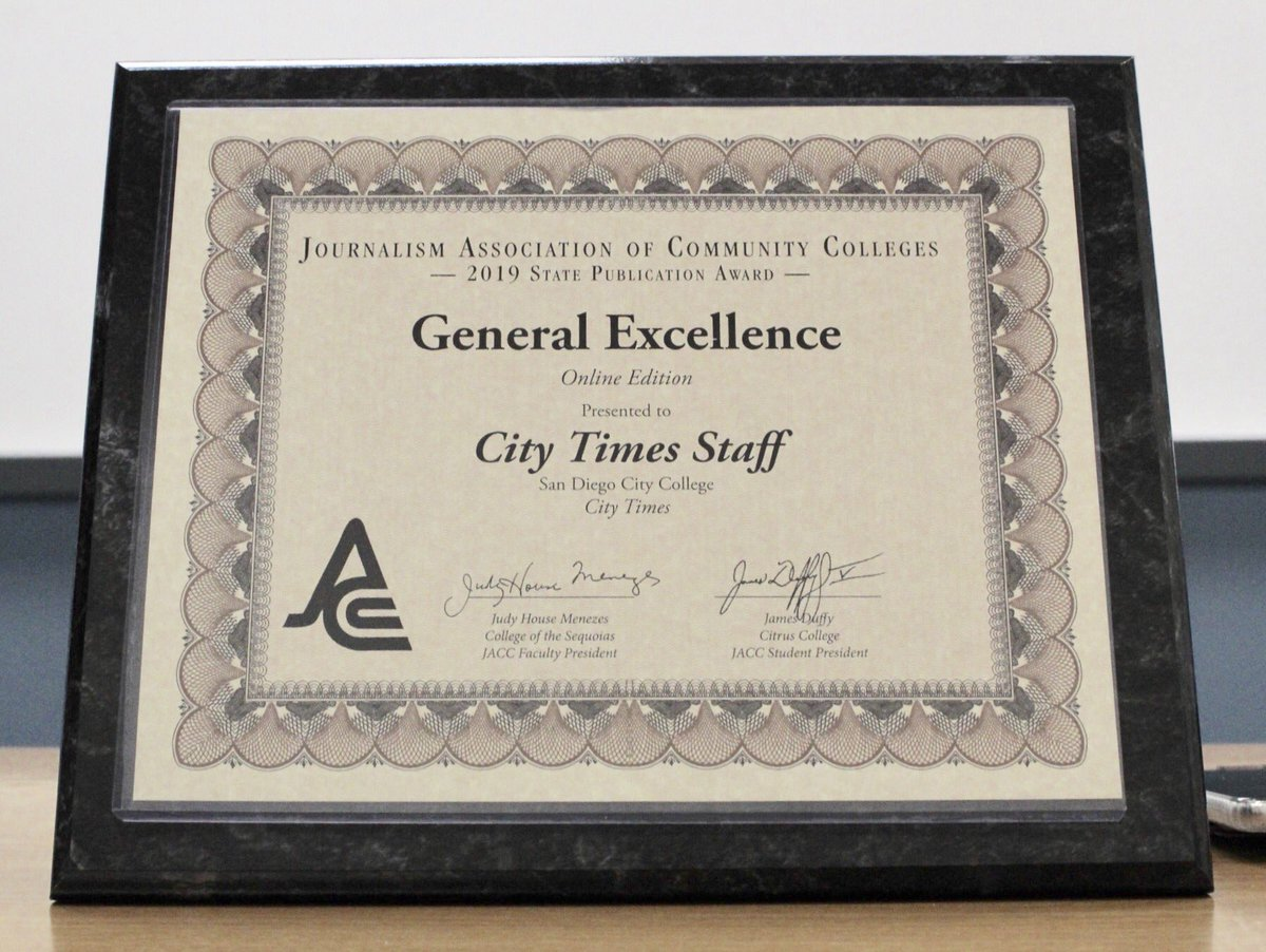 The City Times was presented with a General Excellence award at the 2019 JACC state conference. By Jonny Rico/City Times