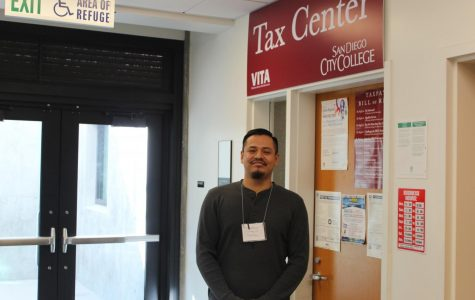 Jamine Lopez stands in front of Tax Center