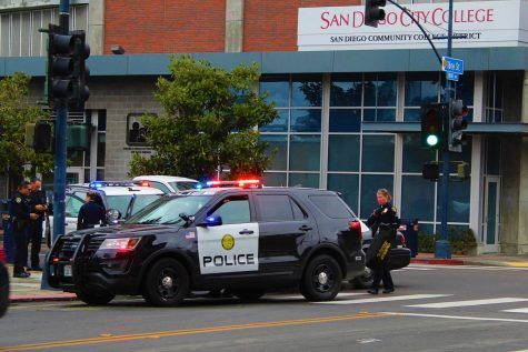 SDCCD Police vehicle with lights on
