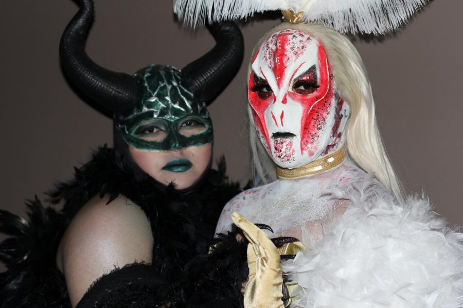 Many students modeled their own creations like Alfonso Lopez Perez as Queen of Thorns and Edwin Garcia as Alien Showgirl.