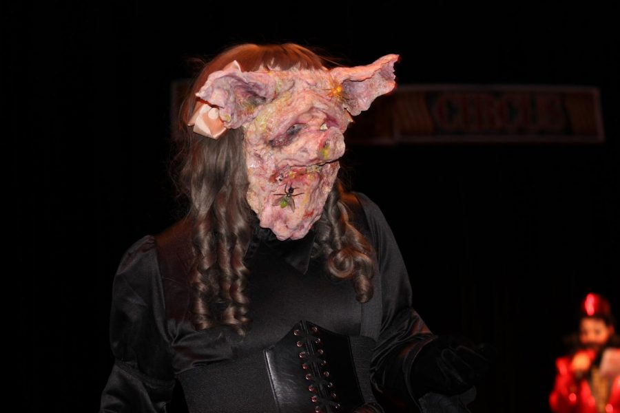 Robert Alexander modeling Long Thanh Nguyen's costume Third, the Pig.