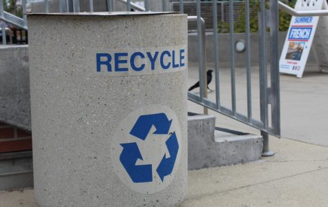 Recycling can on City College campus