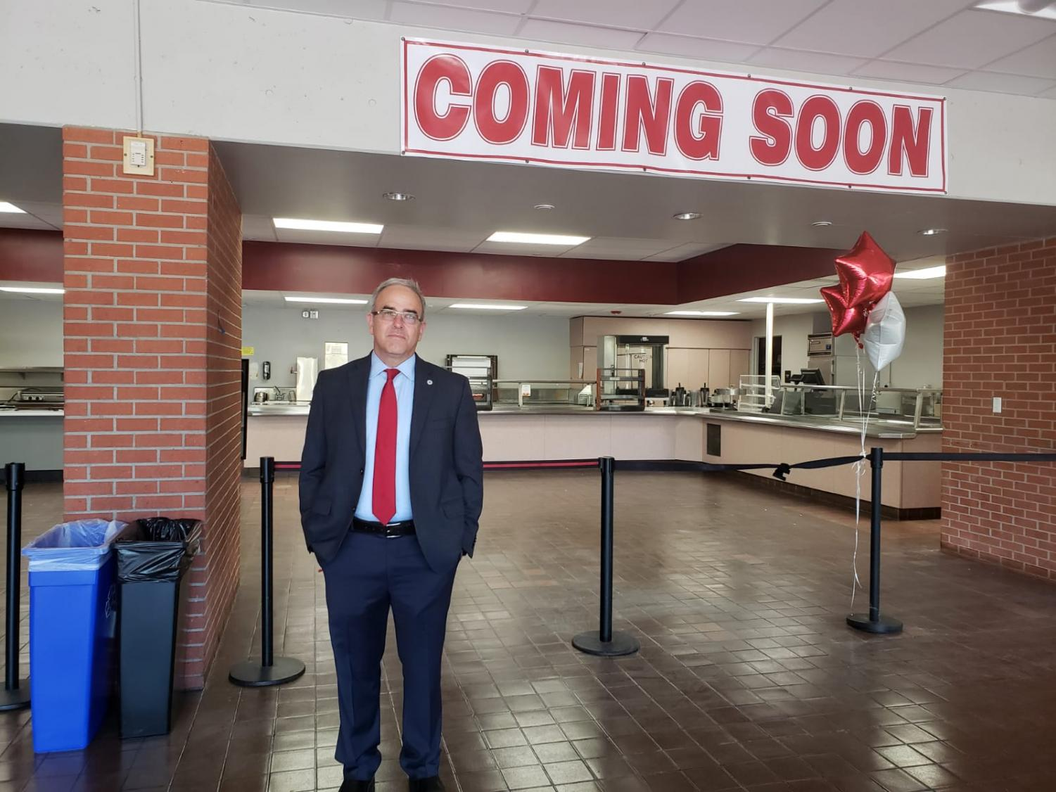Chris Manis expects the cafeteria to be fully operational mid-semester. Photo by Angel Cazares