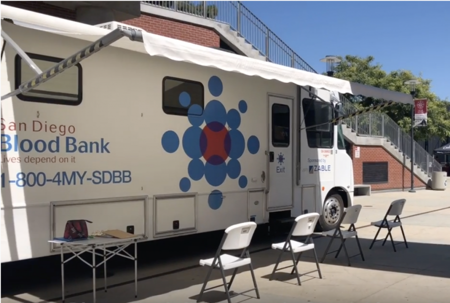 Blood mobile visiting San Diego City College
