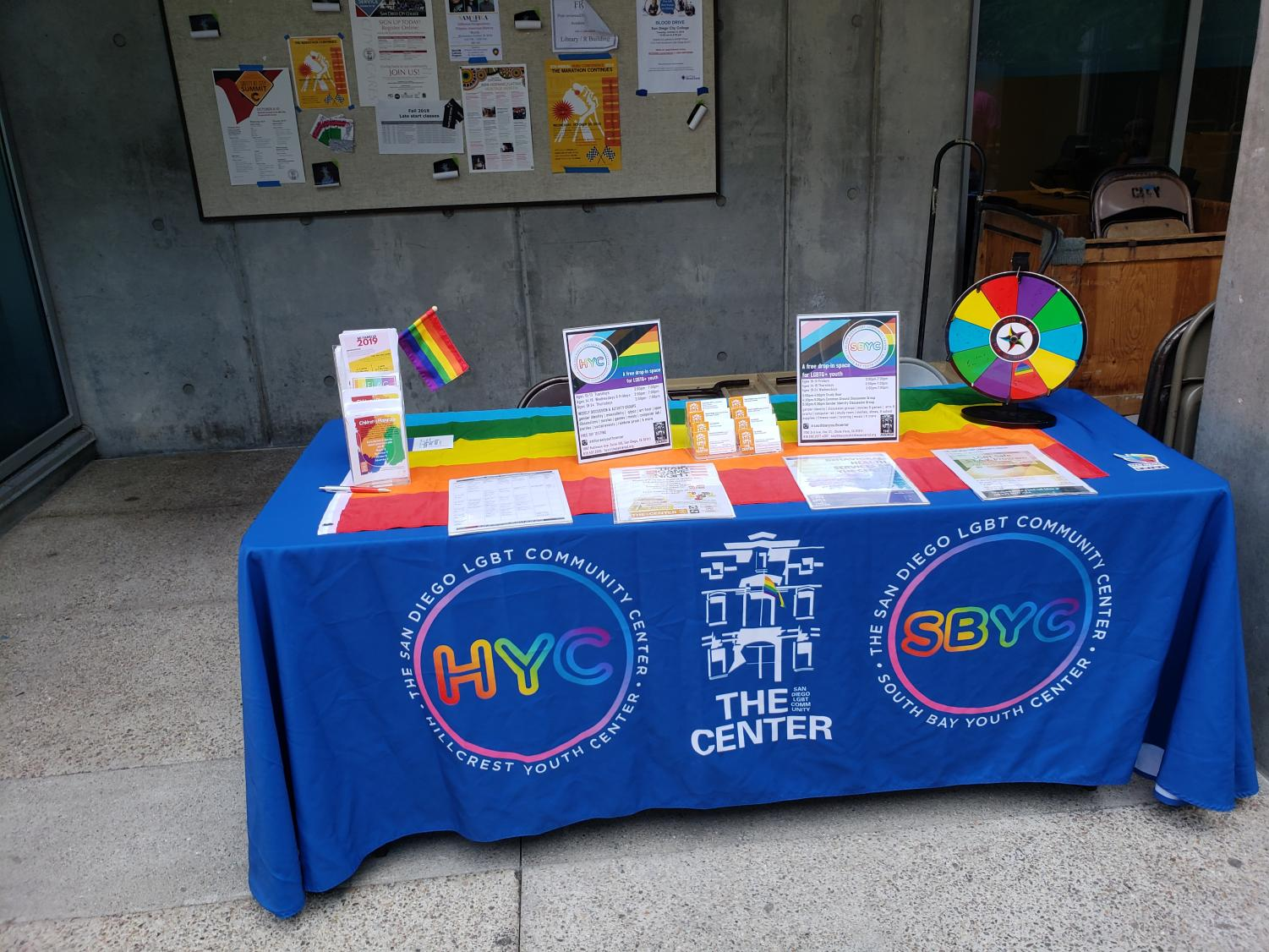 The San Diego LGBT Community Center was one of the groups offering resources to students at World Coming Out Day. Photo by Angel Cazares