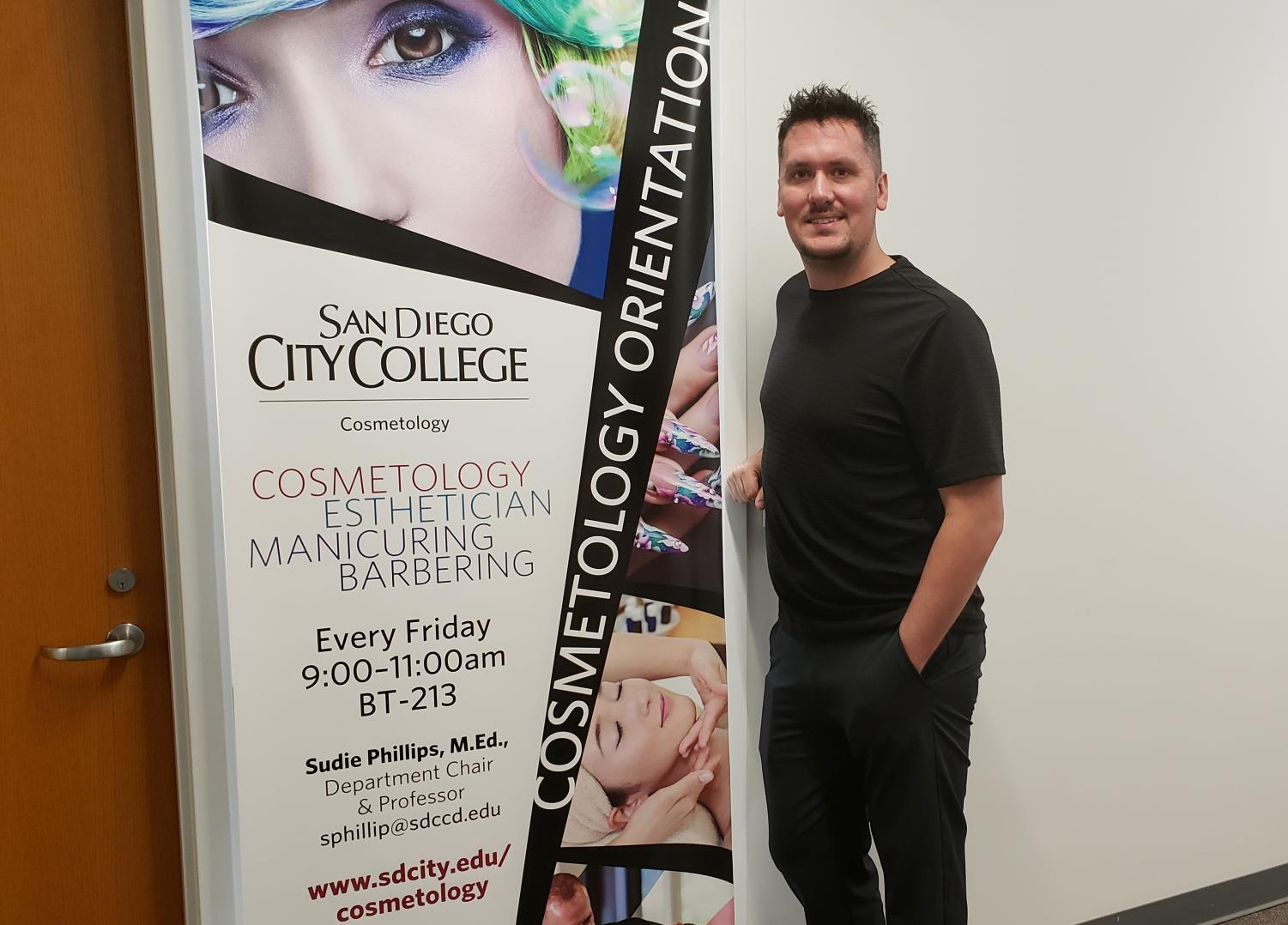 Michael Celatka uses his knowledge of business to further the Cosmetology Program. Photo by Angel Cazares