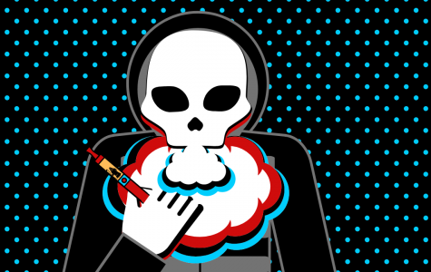 A graphic of a skull vaping