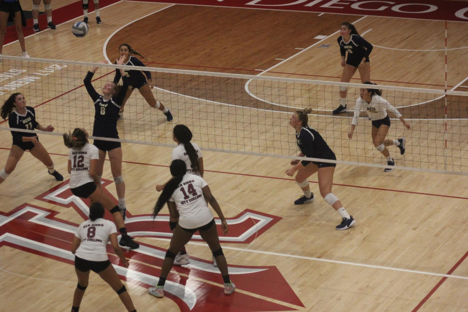 San Diego City College Women's Volleyball team playing. Oct. 2019.