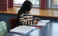 City College student studying at LRC