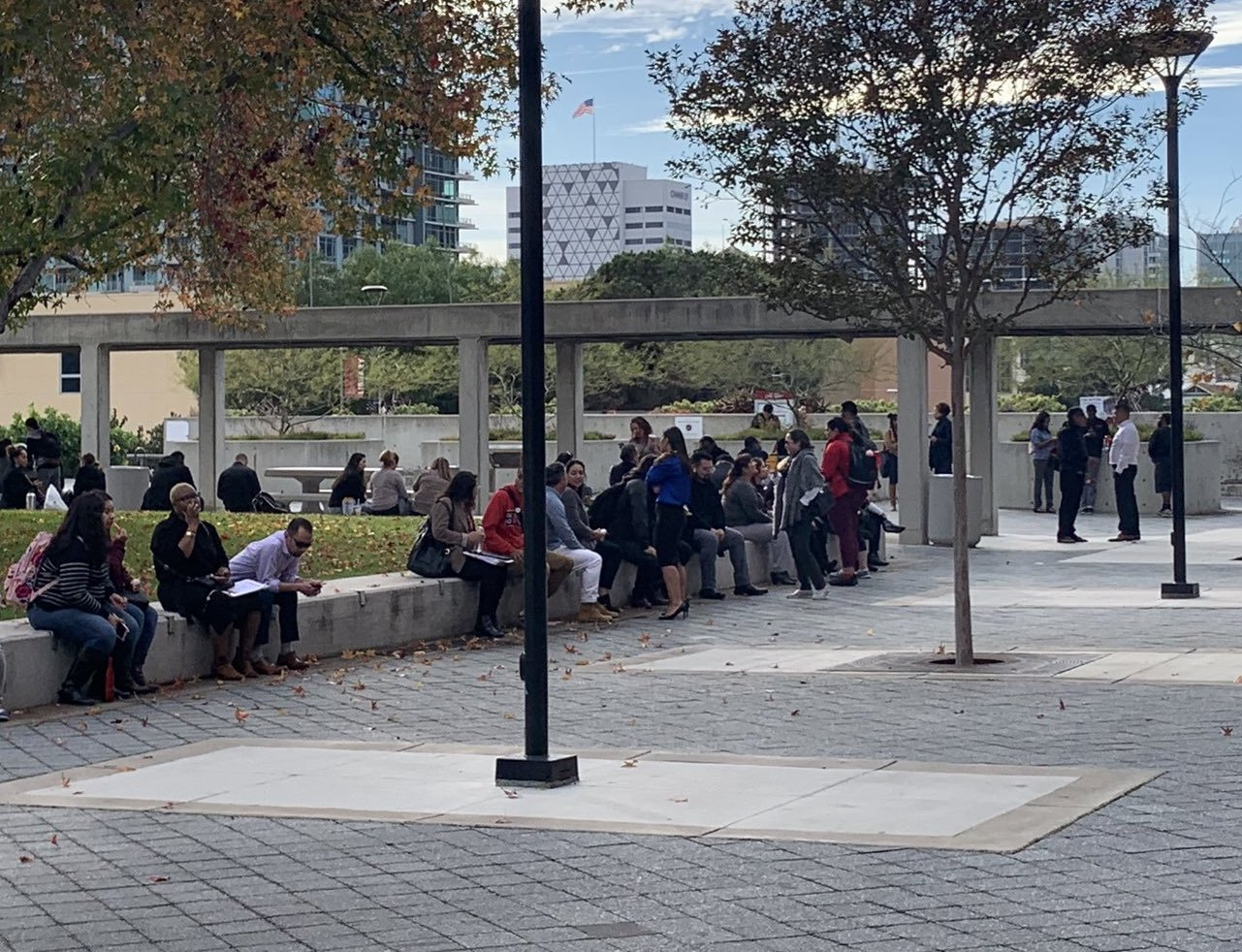 Students and administrators who were evacuated from the A building gathered in Curran Plaza. Photo by Vicky Pineda