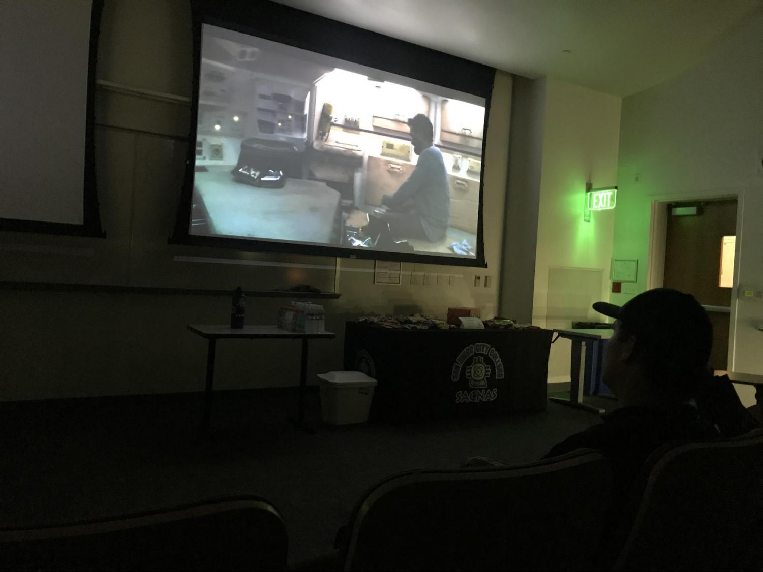The Society for Advancement of Chicanos/Hispanics and Native Americans in Science (SACNAS) held a movie night as way to inspire students and be engaged with the community. Photo by Valerie Vizcarra