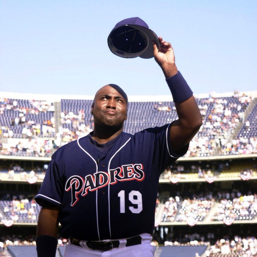 Mr Padre with his blue Padres uniform.