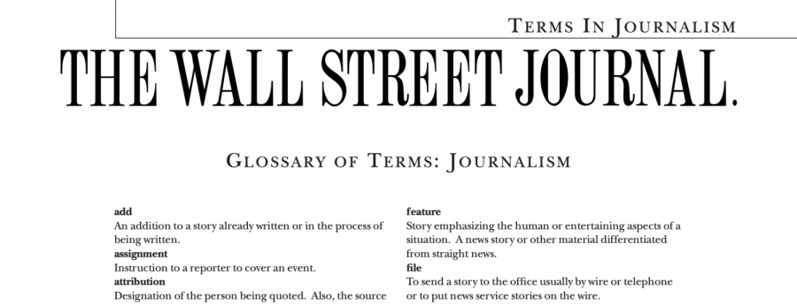 GLOSSARY OF TERMS : JOURNALISM