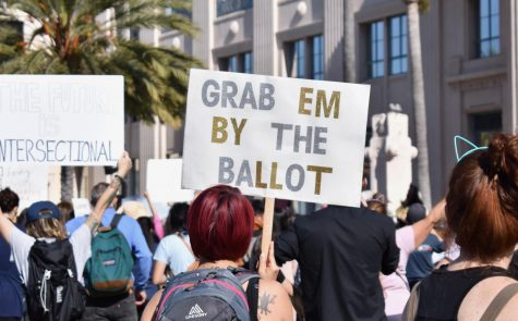 "Women with black and red hair that holds a silver and golden sign that reads ""Grab em by the ballot"""