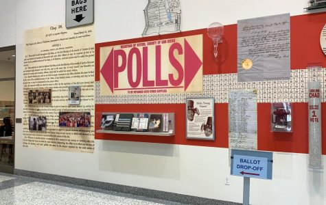 Red and white sign shows the direction to the polls in San Diego CA.