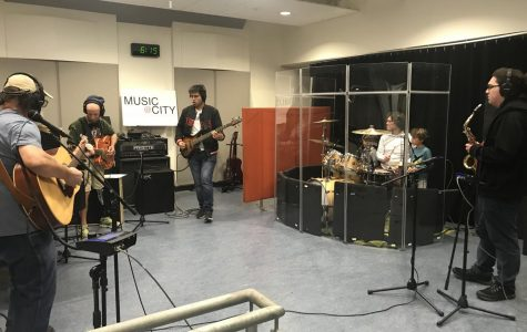 City College students playing and recording music