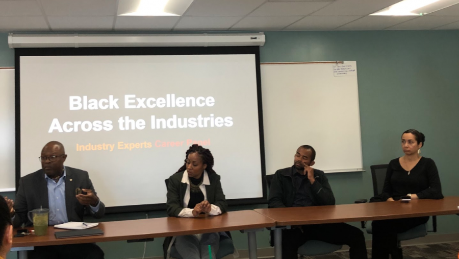 (Left to right) Michael Taylor, Brisa Johnson, Jayton Harps, and Deme Hall, discusses black excellence during the industry panel. Photo by: Elisabeth Vermeulen/City Times