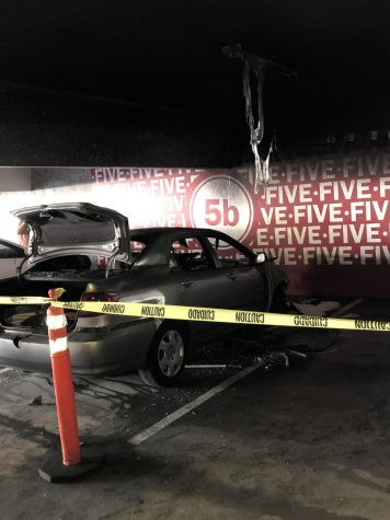 Car burned at SDCC parking structure.