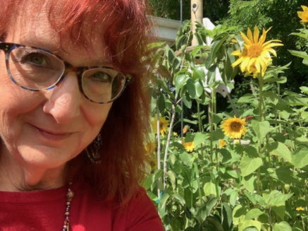 Lisa Chaddock in her garden