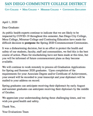 SDCCD commencement email